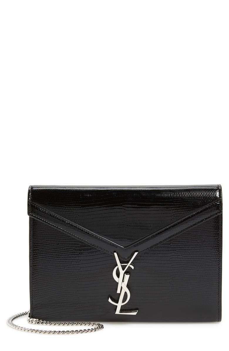 SAINT LAURENT Cassandra Reptile Embossed Calfskin Wallet on a Chain, Main, color, NERO/ ROUGE LEGION