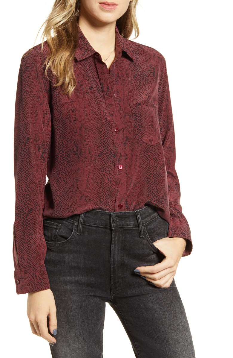 RAILS Kate Silk Shirt, Main, color, RED PYTHON