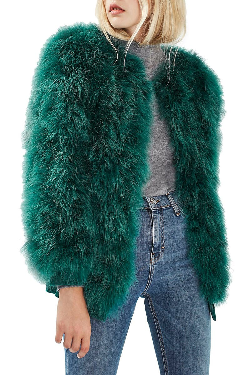 TOPSHOP Ozzy Marabou Feather Coat, Main, color, 300