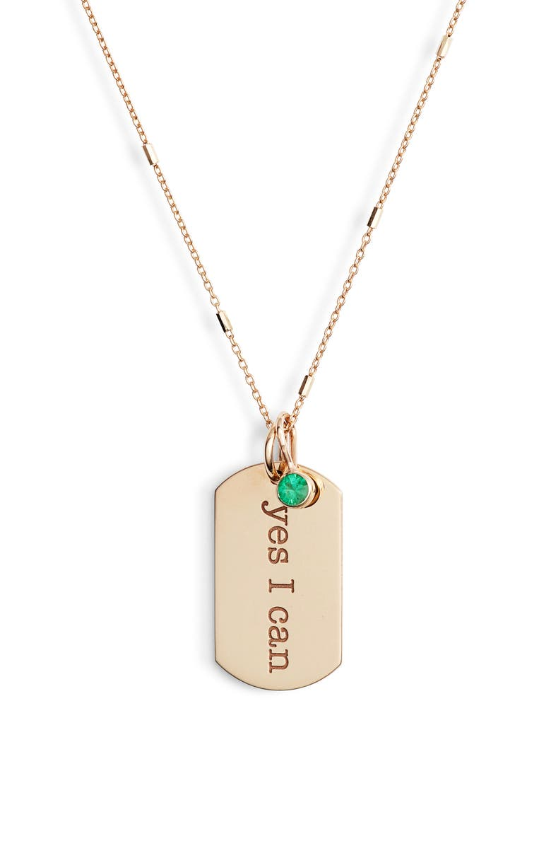 ZOË CHICCO Yes I Can Tag Pendant Necklace, Main, color, GOLD