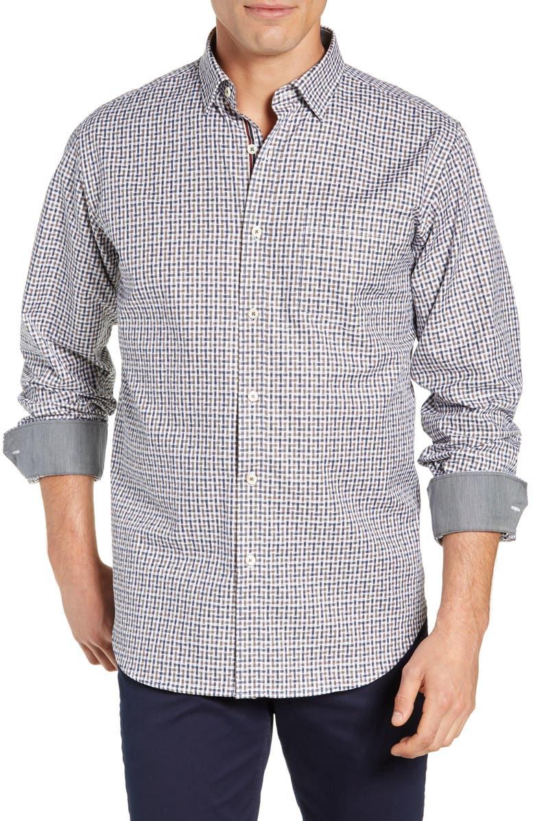 BUGATCHI Classic Fit Print Shirt, Main, color, BISCOTTI