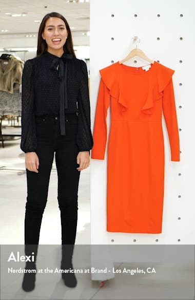 Ruffle Long Sleeve Ponte Dress, sales video thumbnail