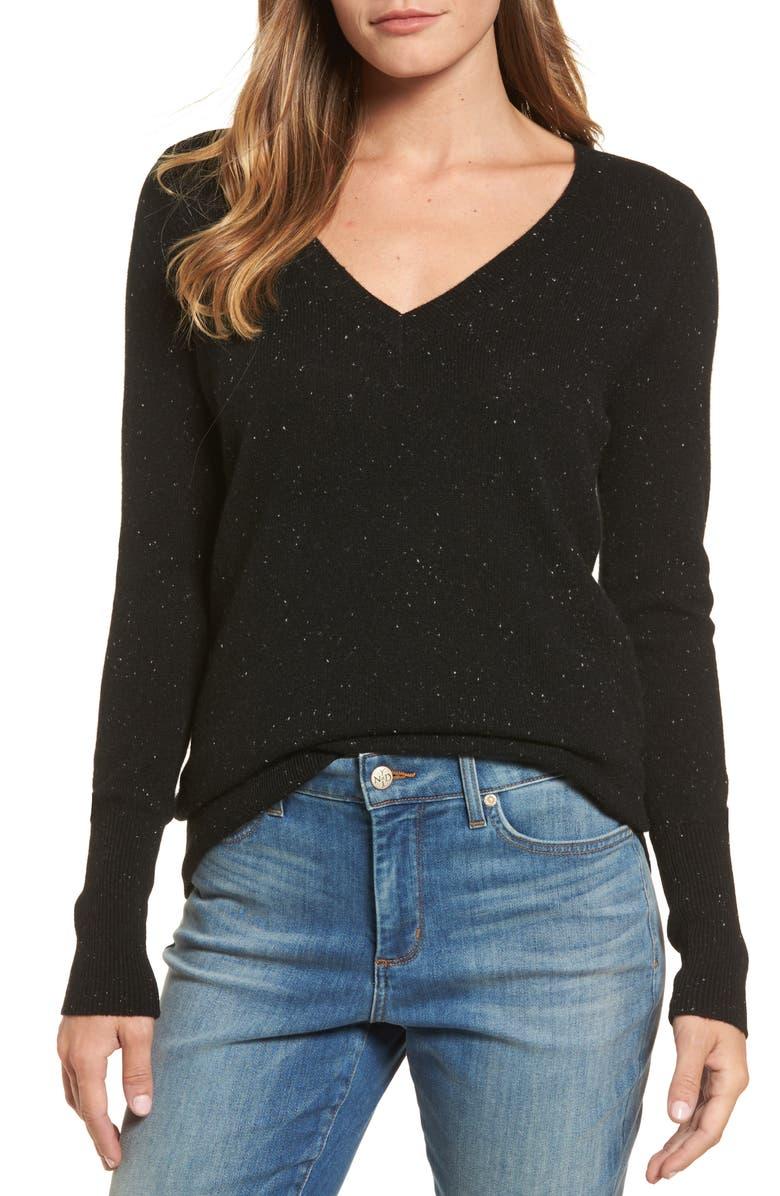 HALOGEN<SUP>®</SUP> V-Neck Cashmere Sweater, Main, color, 002