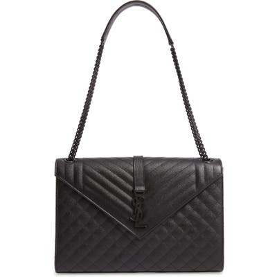 Saint Laurent Large Mono Calfskin Leather Shoulder Bag - Black