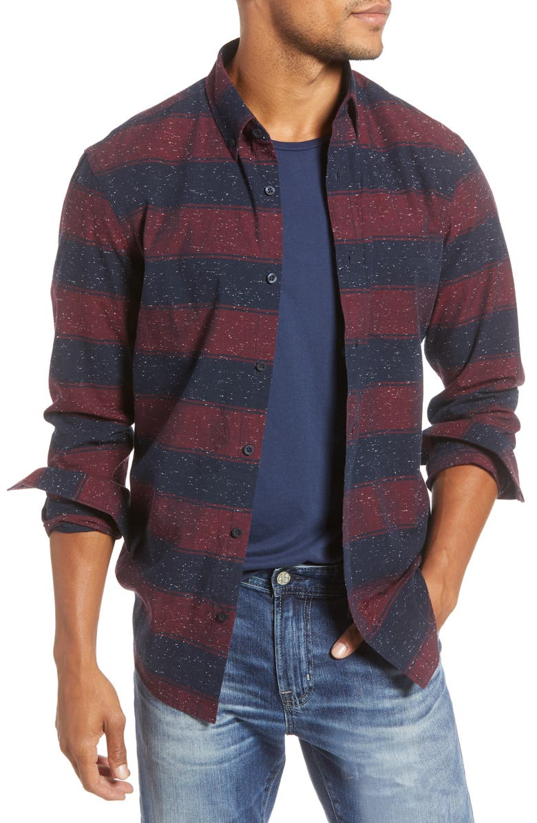 1901 Trim Fit Stripe Button-Up Sport Shirt, Main, color, NAVY RED NEP STRIPE