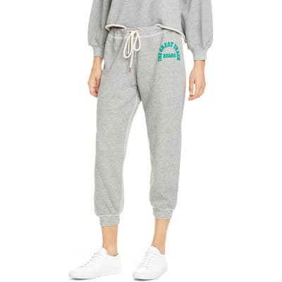The Great. The Cropped Sweatpants With Logo Graphic, Grey