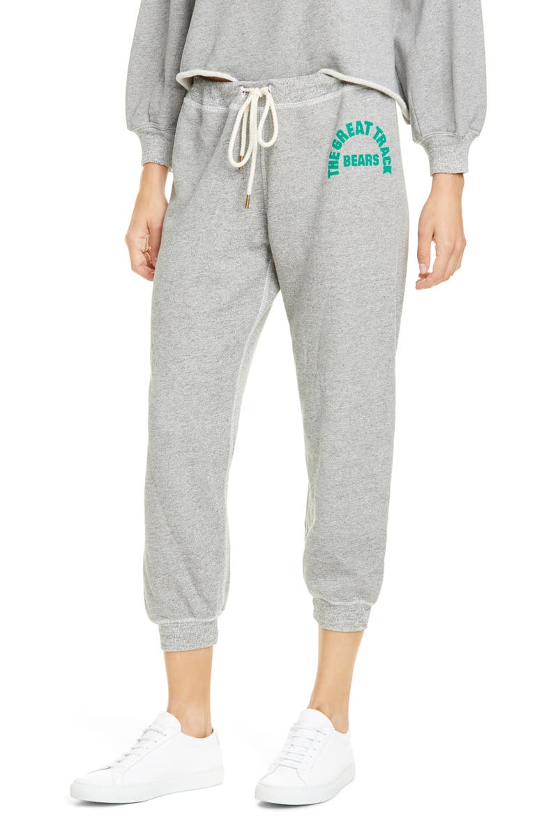 THE GREAT. The Cropped Sweatpants with Logo Graphic, Main, color, VARSITY GREY W/ BOTTLE GREEN