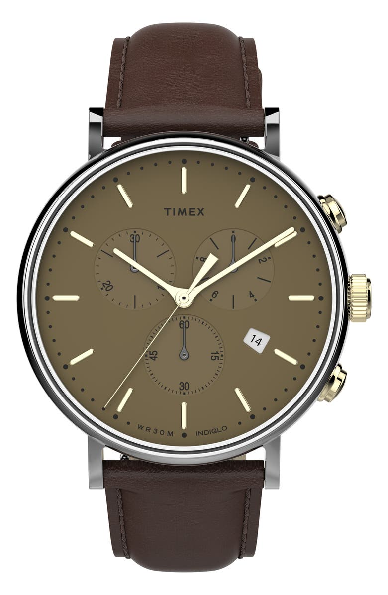 TIMEX<SUP>®</SUP> Fairfield Chronograph Leather Strap Watch, 41mm, Main, color, KHAKI/ SILVER