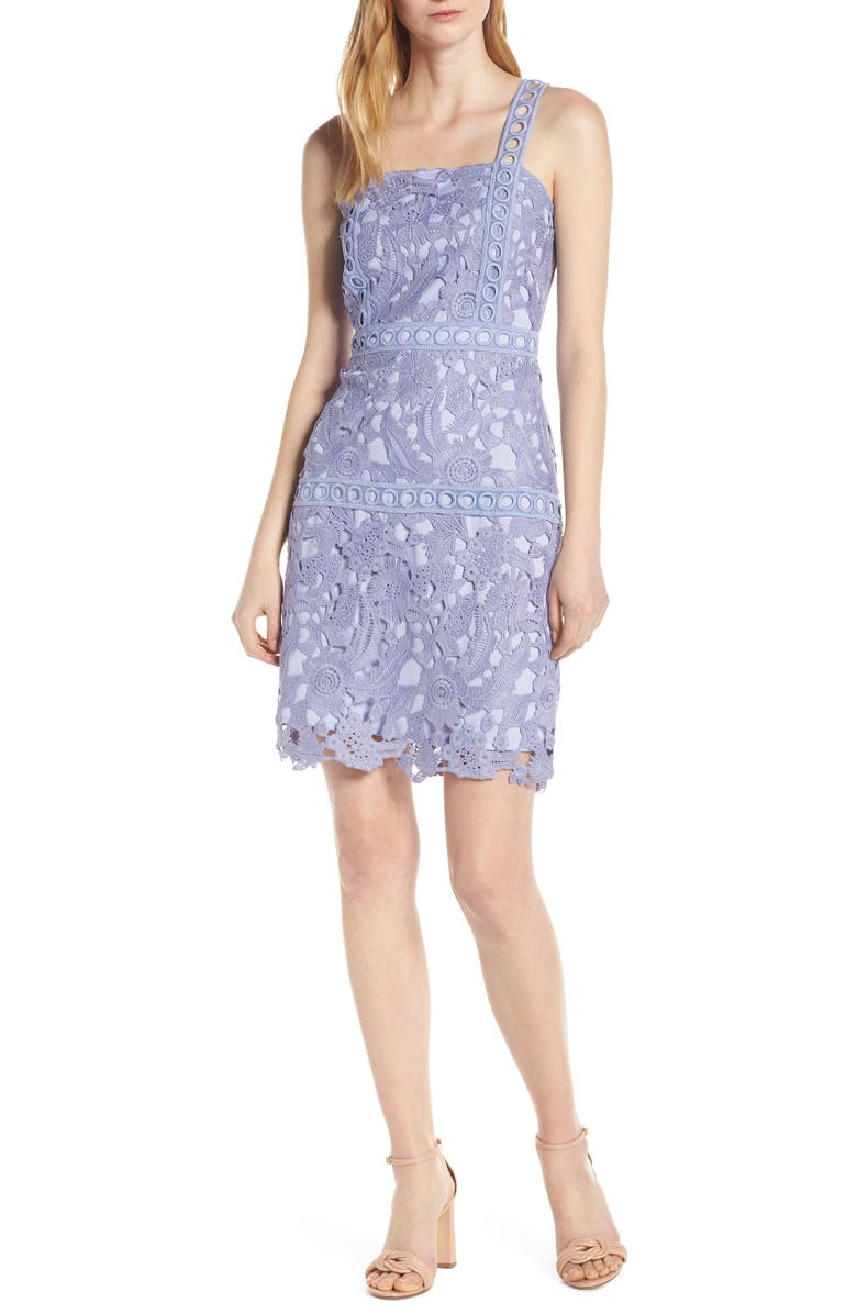 SAM EDELMAN Lace Sheath Dress, Main, color, LAVENDER