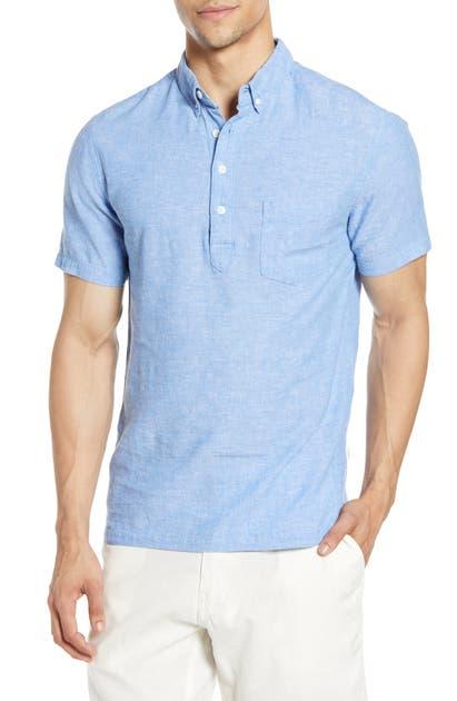 Onia T-shirts JOSH SHORT SLEEVE BUTTON-DOWN LINEN POPOVER SHIRT