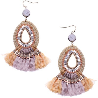 Nakamol Design Beaded Fringe Drop Earrings