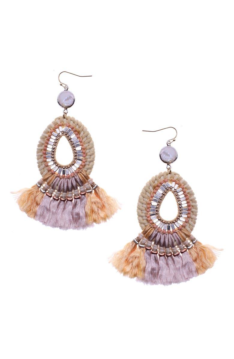 NAKAMOL DESIGN Beaded Fringe Drop Earrings, Main, color, IVORY