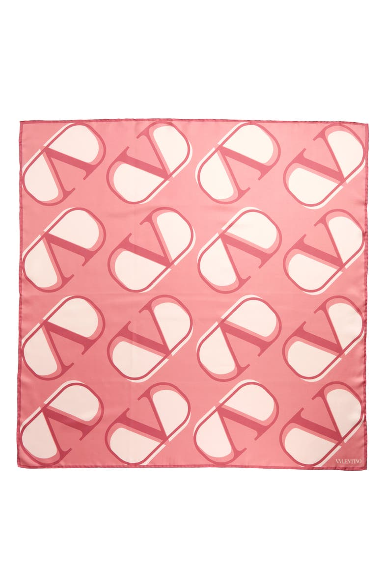 VALENTINO GARAVANI Logo Print Silk Scarf, Main, color, PINK FL/ S.ROSE/ POUDRE