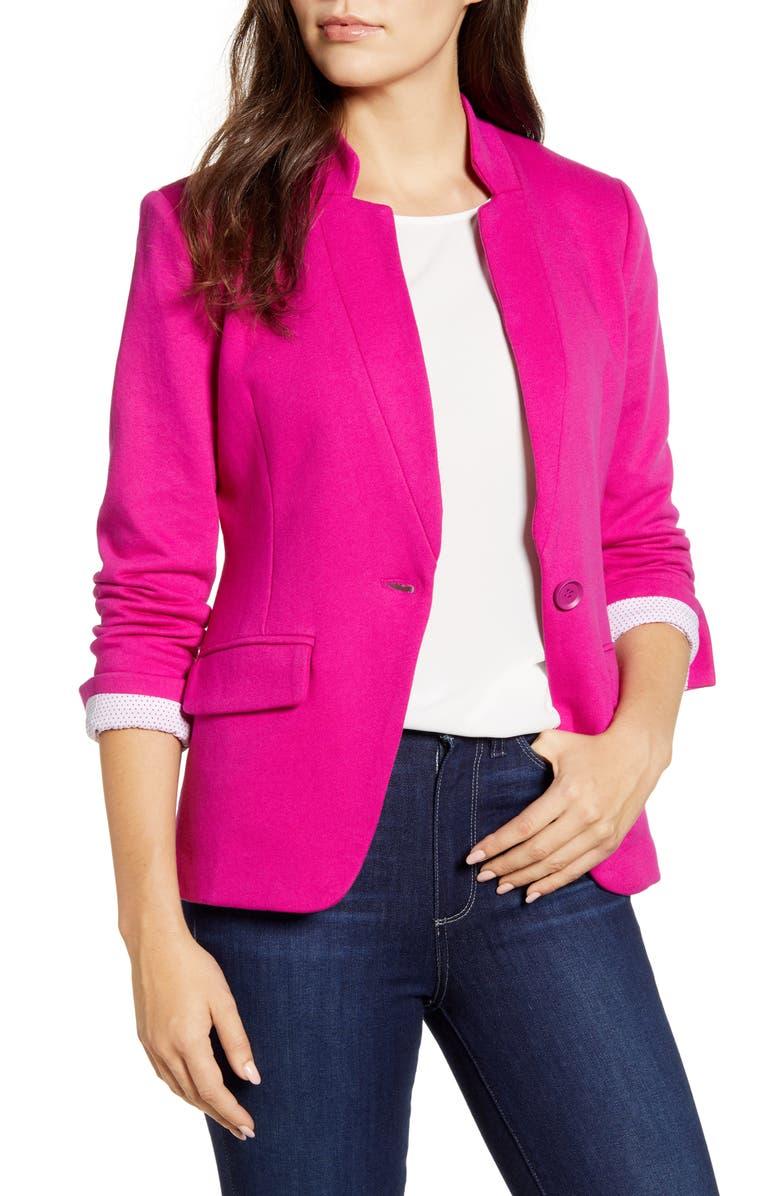 GIBSON Notch Collar Cotton Blend Blazer, Main, color, NEON BERRY