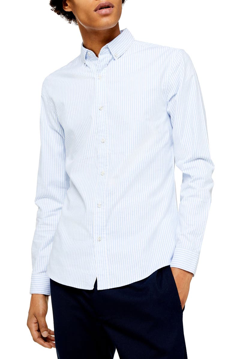 TOPMAN Skinny Fit Pinstripe Button-Down Stretch Oxford Shirt, Main, color, BLUE