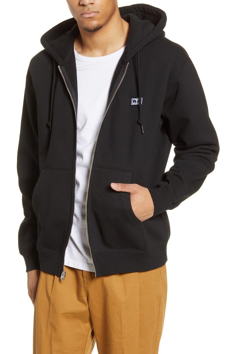 OBEY All Eyez II Zip Hoodie, Main, color, BLACK