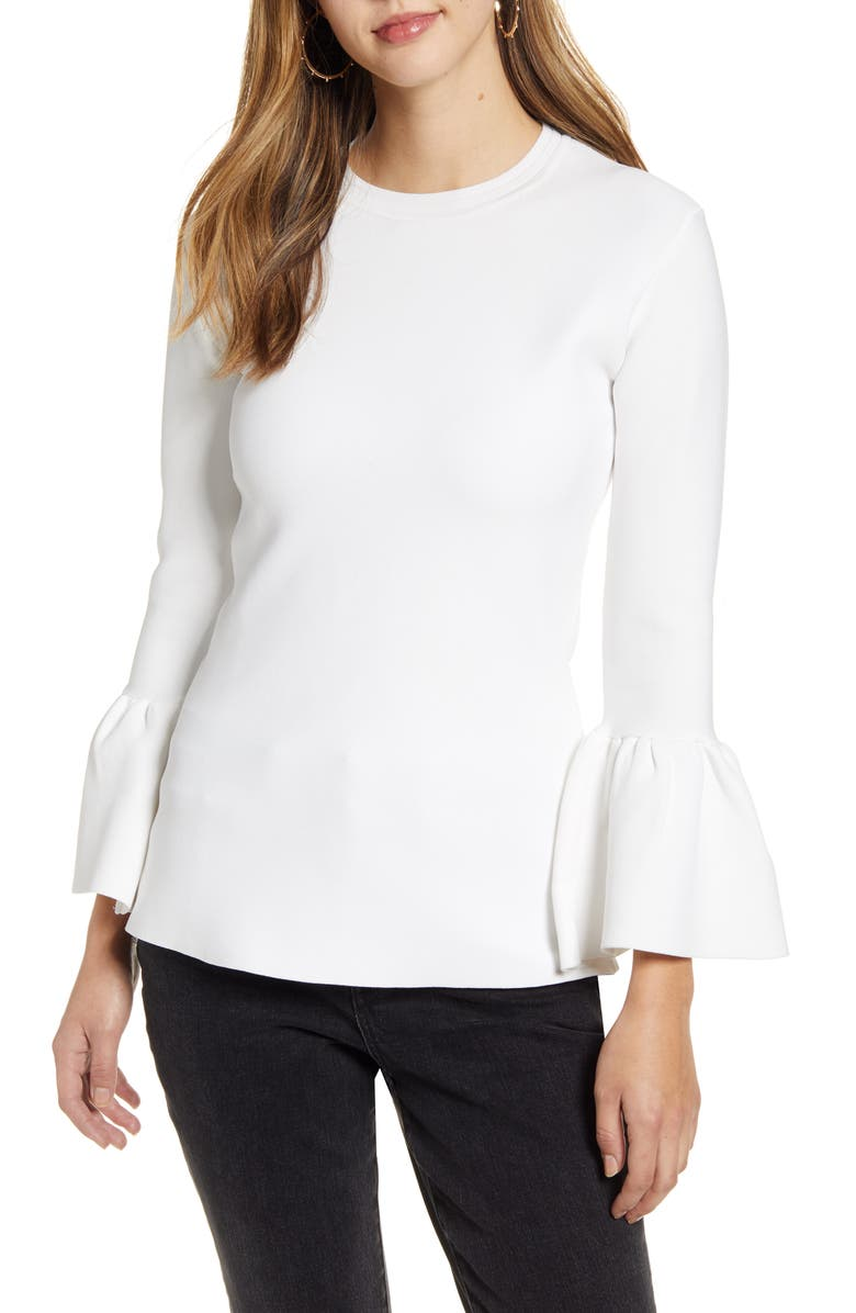 RACHEL PARCELL Exaggerated Bell Sleeve Sweater, Main, color, IVORY CLOUD