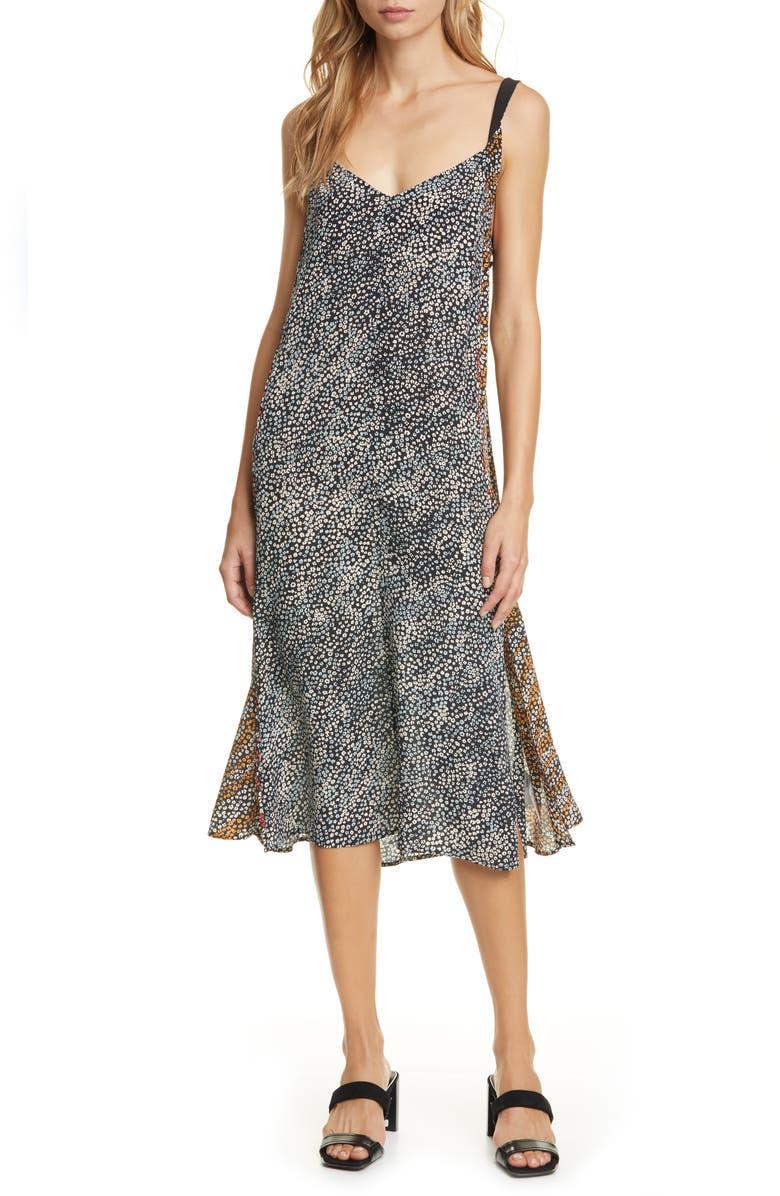 RAG & BONE Colette Twist Strap Silk Dress, Main, color, 001