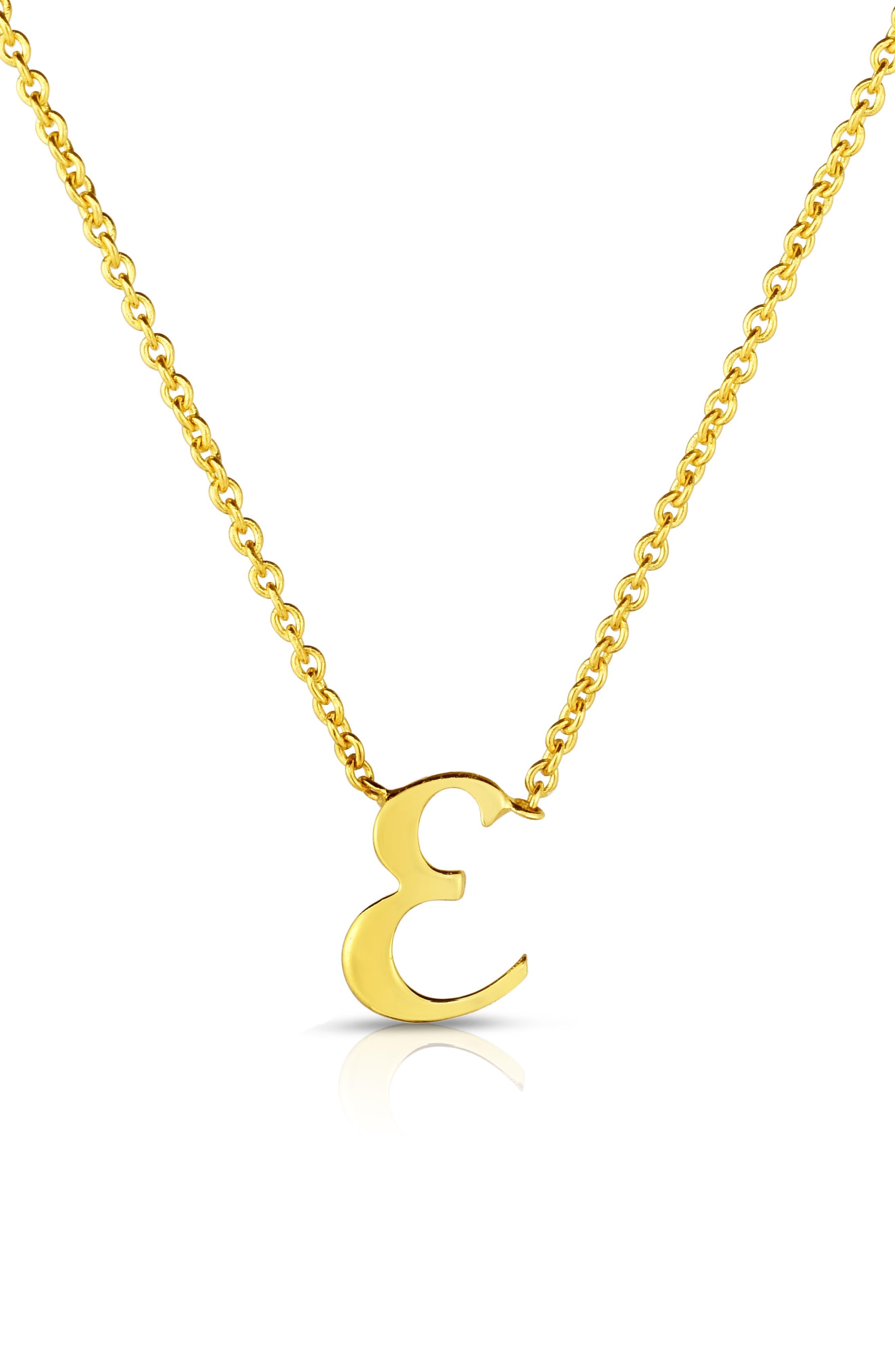 Robert Coin Cursive Initial Pendant Necklace, Main, color, YELLOW GOLD - E