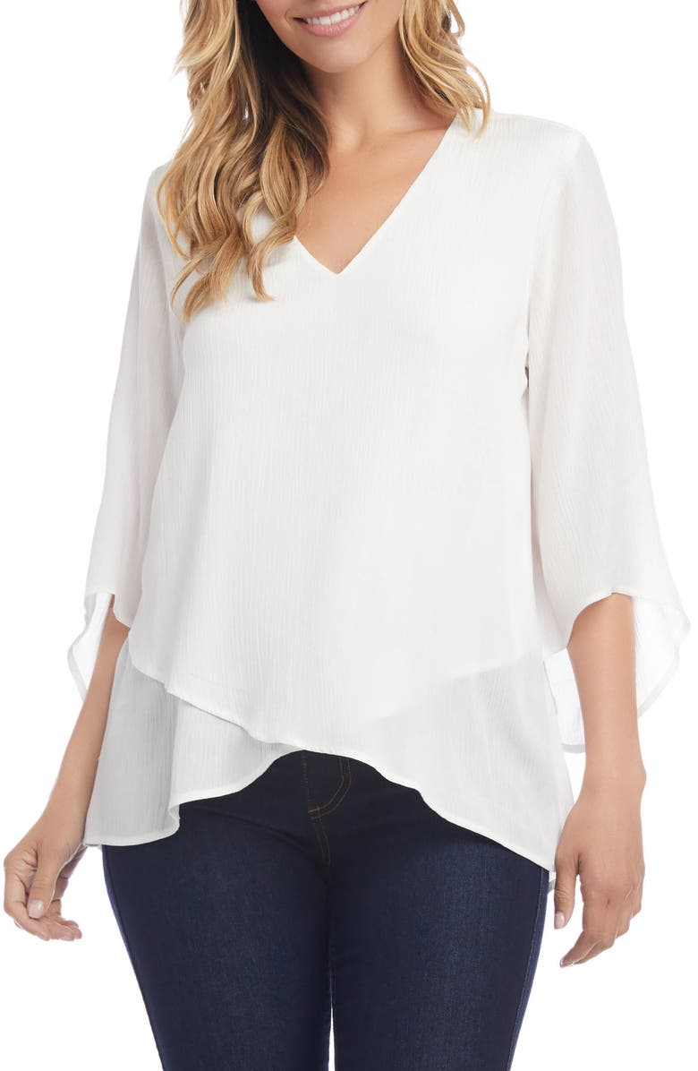 KAREN KANE Layered Top, Main, color, OFF WHITE