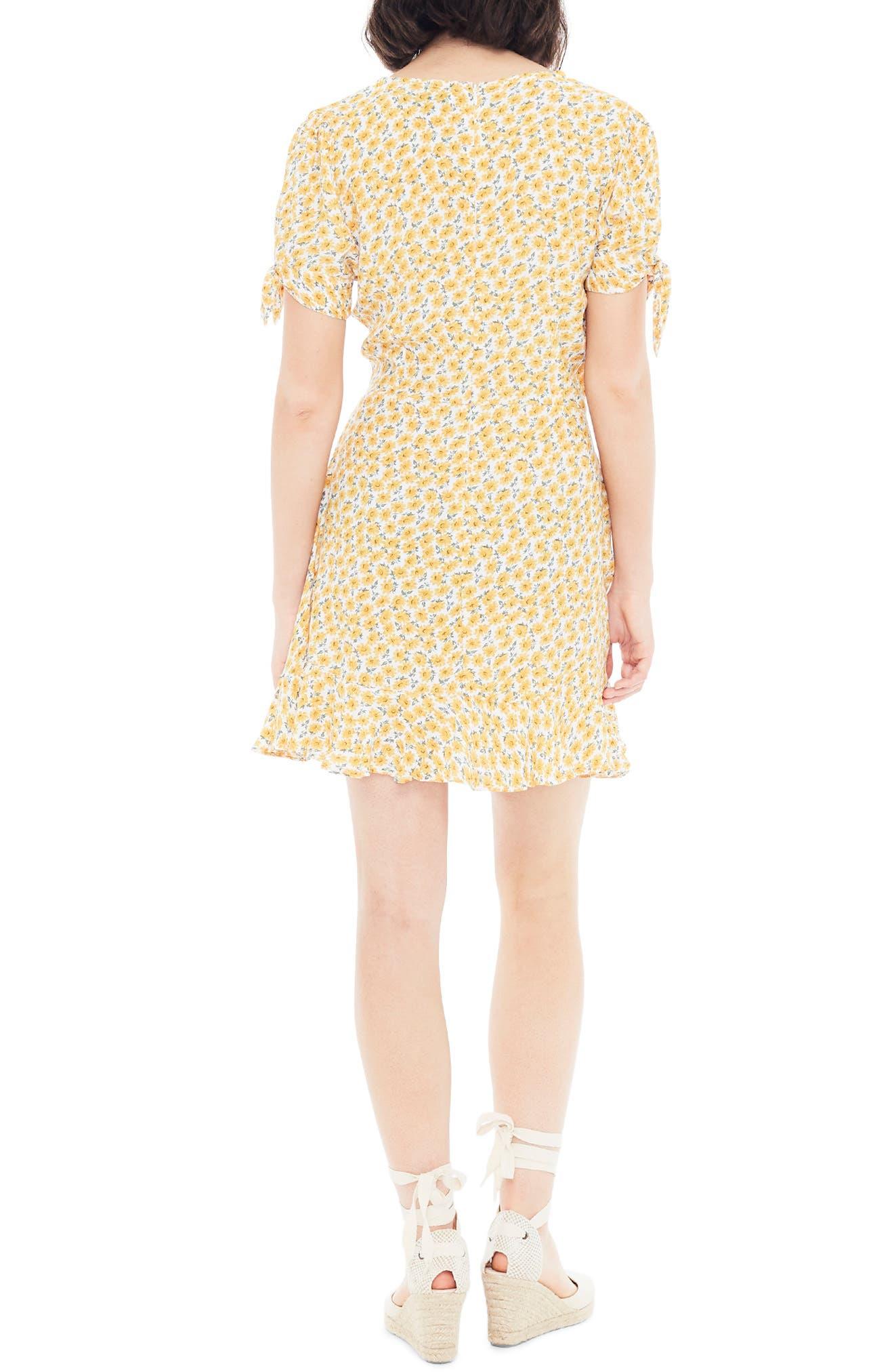 ,                             Daphne Tie Sleeve Minidress,                             Alternate thumbnail 2, color,                             MARGUERITE FLORAL - YELLOW