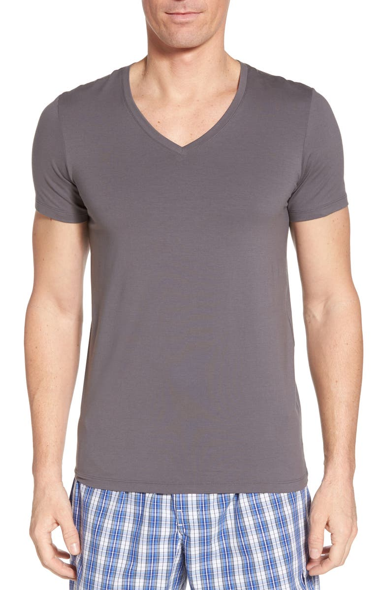 HANRO Cotton Superior V-Neck T-Shirt, Main, color, EBONY