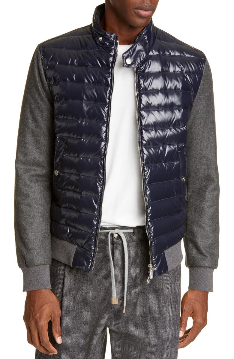 ELEVENTY Mixed Media Quilted Down Jacket, Main, color, NAVY