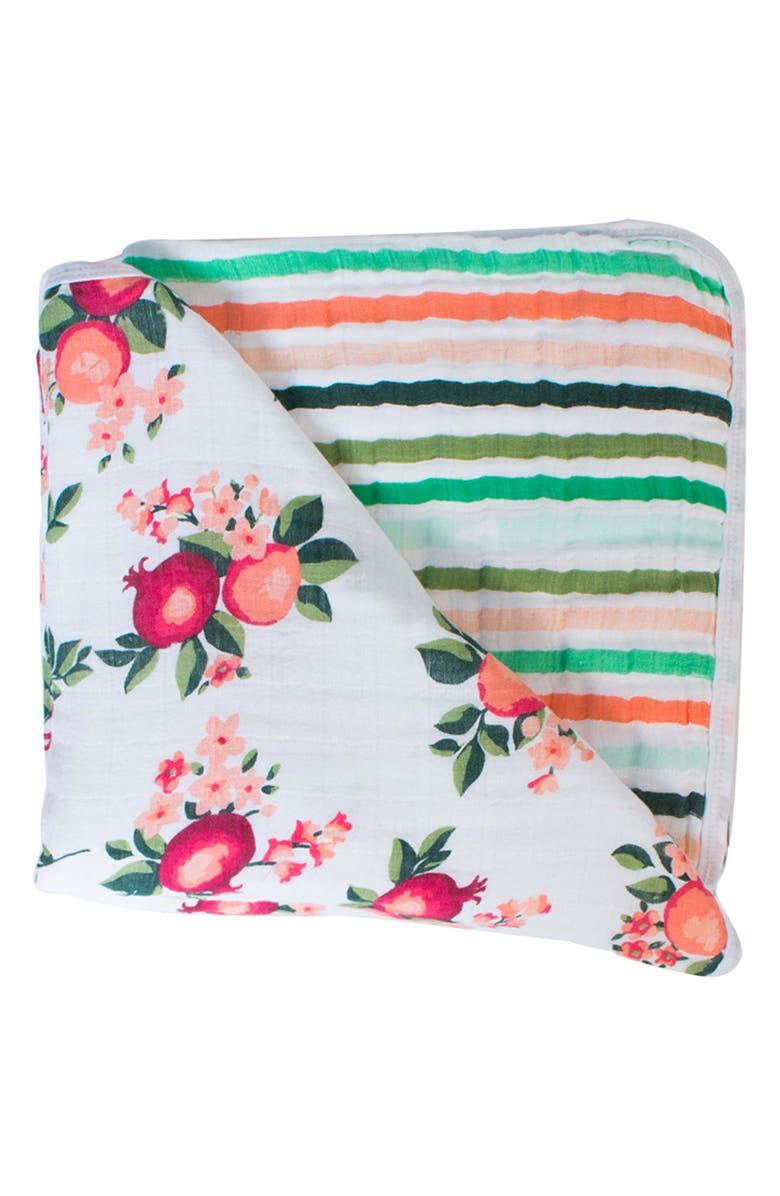 BÉBÉ AU LAIT Muslin Snuggle Blanket, Main, color, OJAI & RIBBON