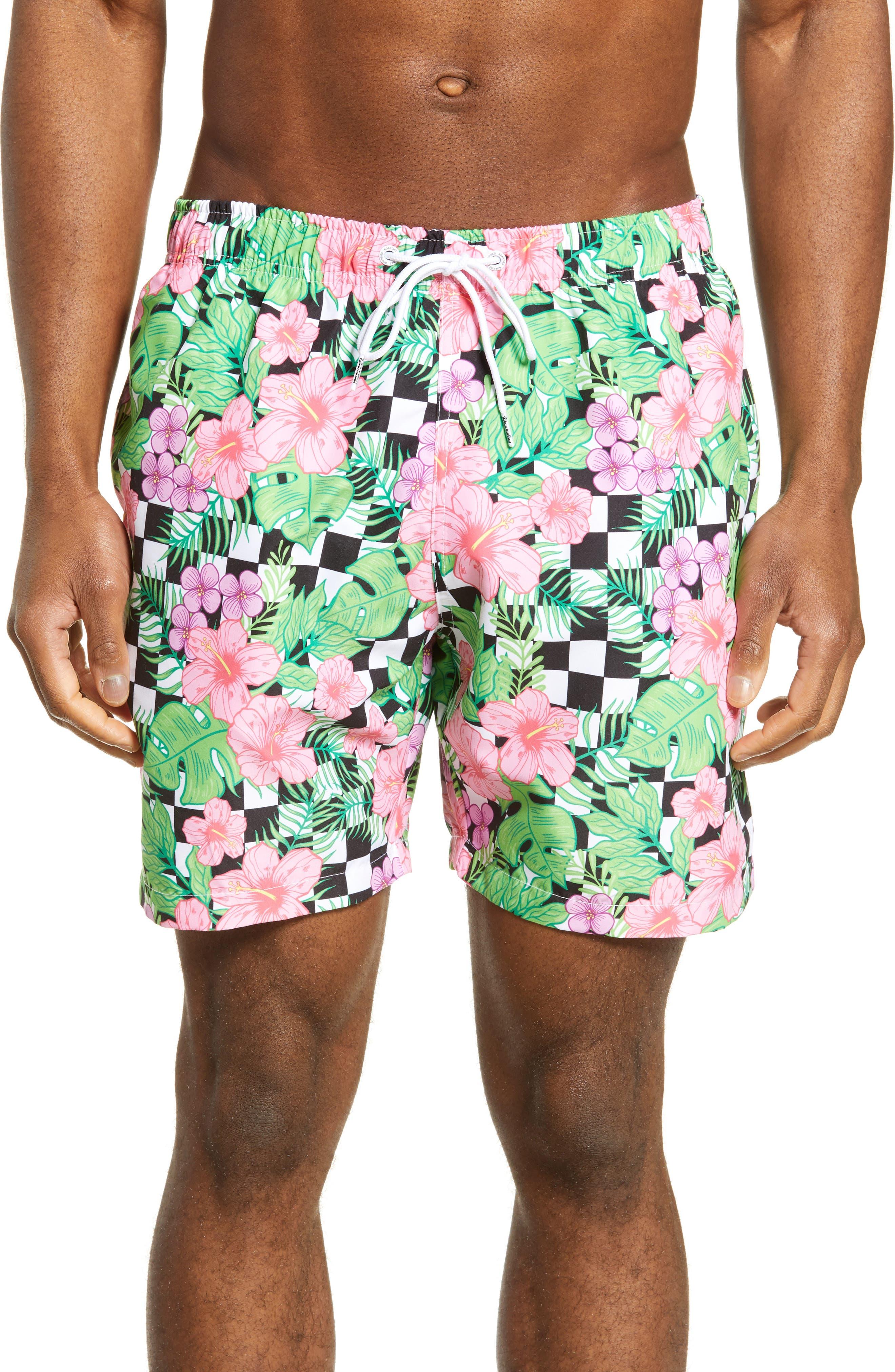 Boardies Checkerboard Floral Print Swim Trunks
