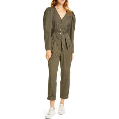 La Vie Rebecca Taylor Topstitch Detail Puff Sleeve Cotton Jumpsuit, Green