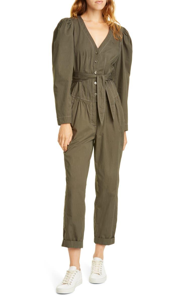 LA VIE REBECCA TAYLOR Topstitch Detail Puff Sleeve Cotton Jumpsuit, Main, color, ZINC
