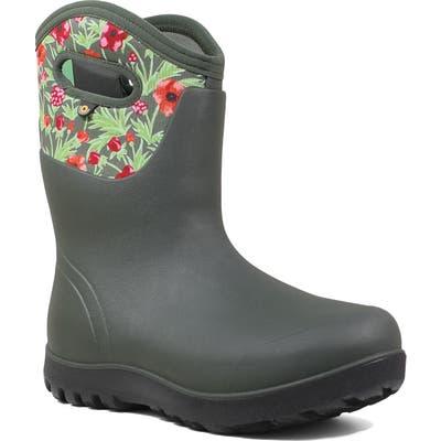 Bogs Neo Classic Mid Vine Floral Waterproof Rain Boot, Grey