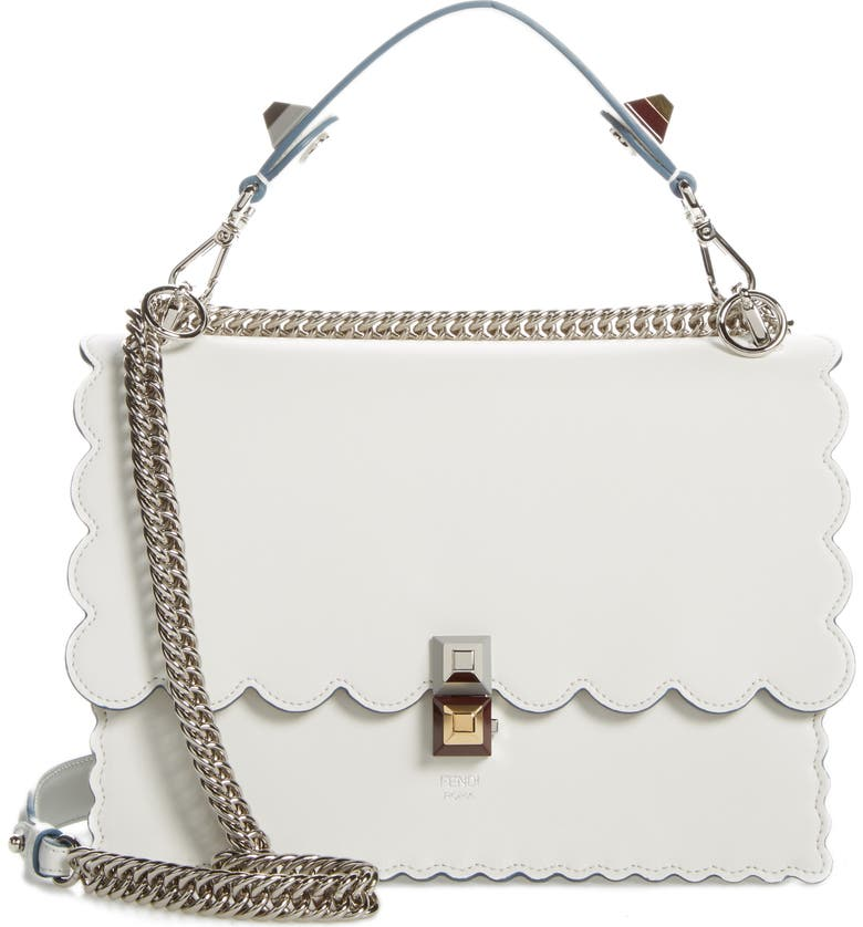 FENDI Kan I Scallop Leather Shoulder Bag, Main, color, 186