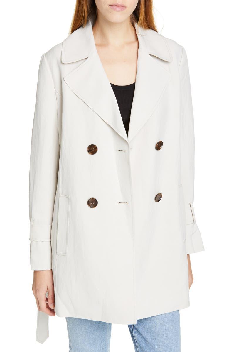 LEWIT Polka Dot Back Linen & Silk Belted Trench Coat, Main, color, 270