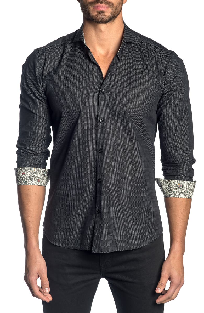 JARED LANG Slim Fit Button-Up Sport Shirt, Main, color, BLACK PIN POINT