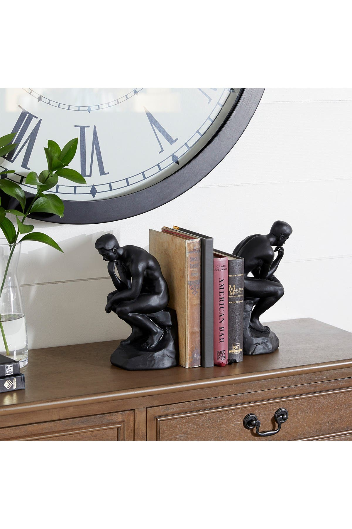 """Image of Willow Row Black Polystone Meditative Bookends - Set of 2 - 5"""" x 8.75"""""""