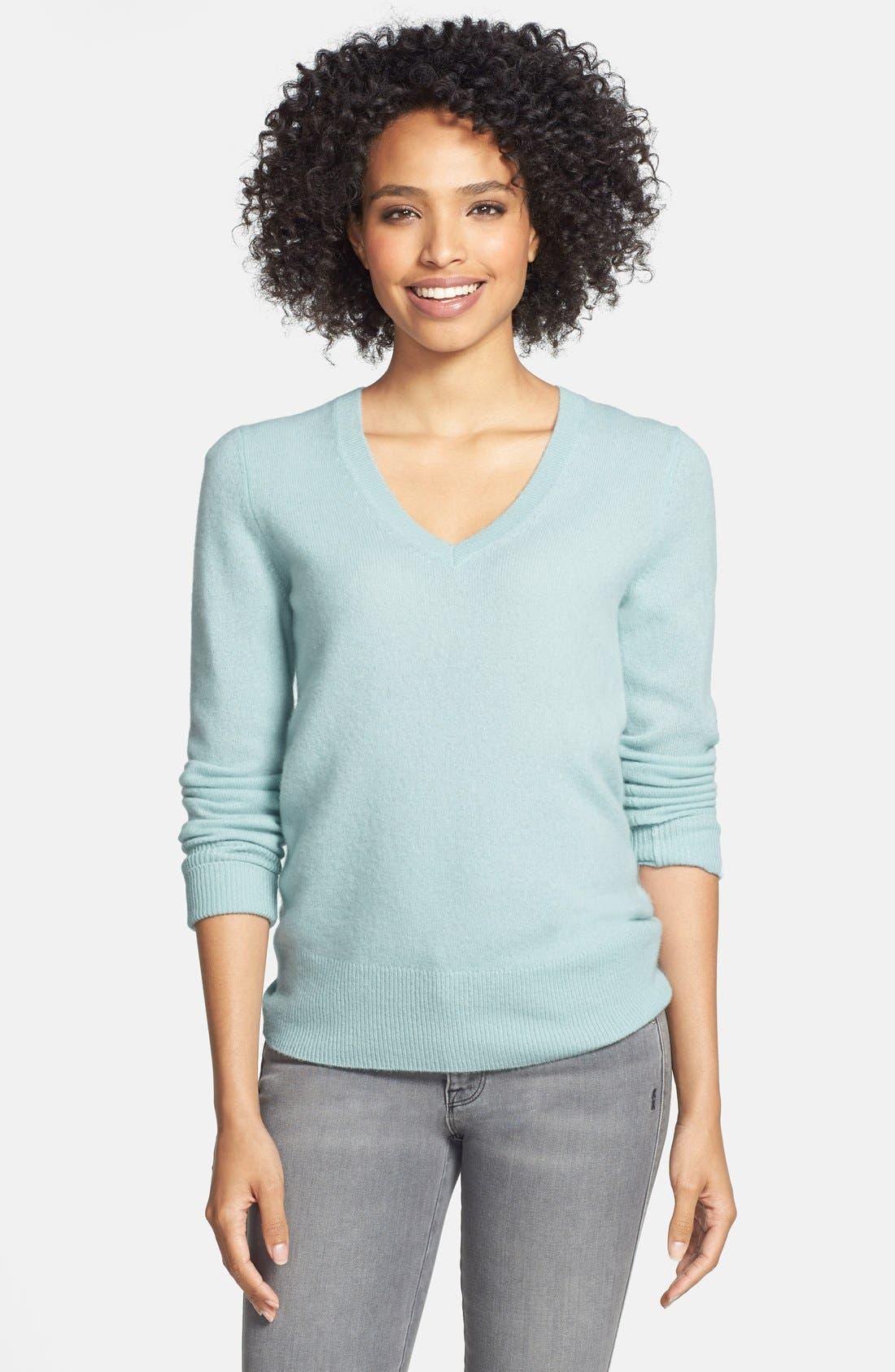 ,                             Cashmere V-Neck Sweater,                             Main thumbnail 56, color,                             450