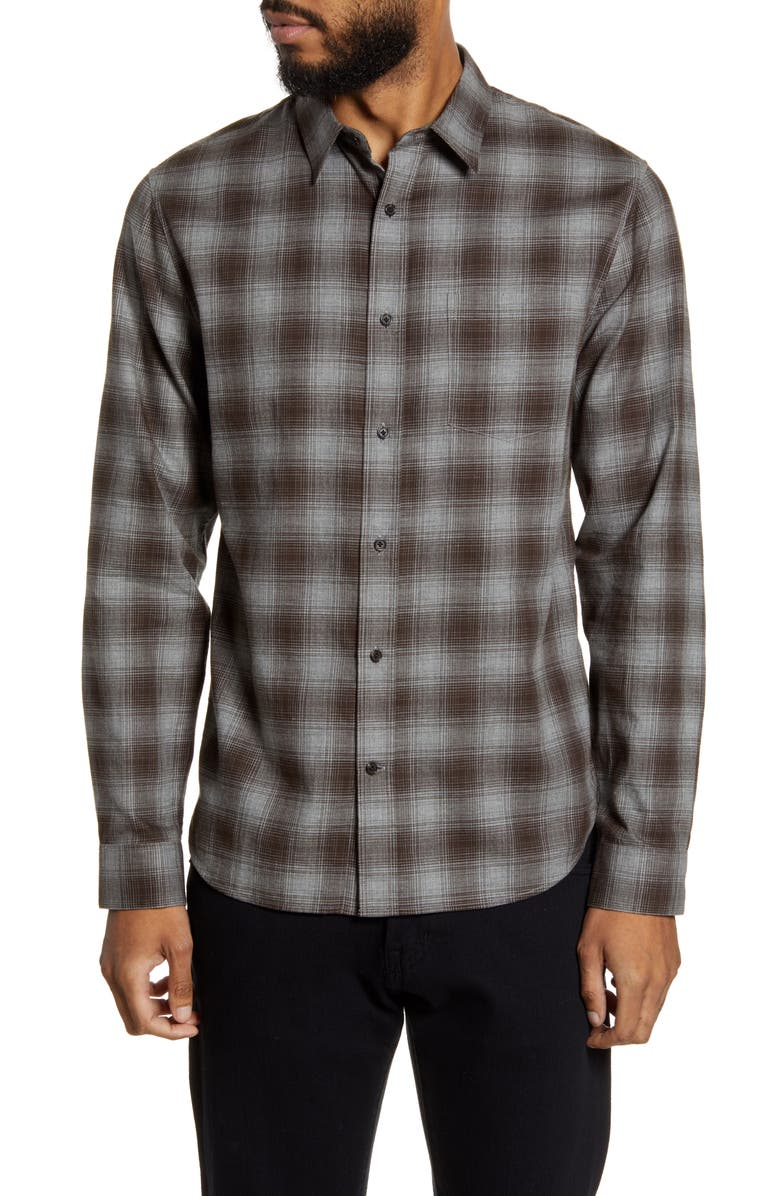 VINCE Slim Fit Plaid Button-Up Shirt, Main, color, DARK CLAY