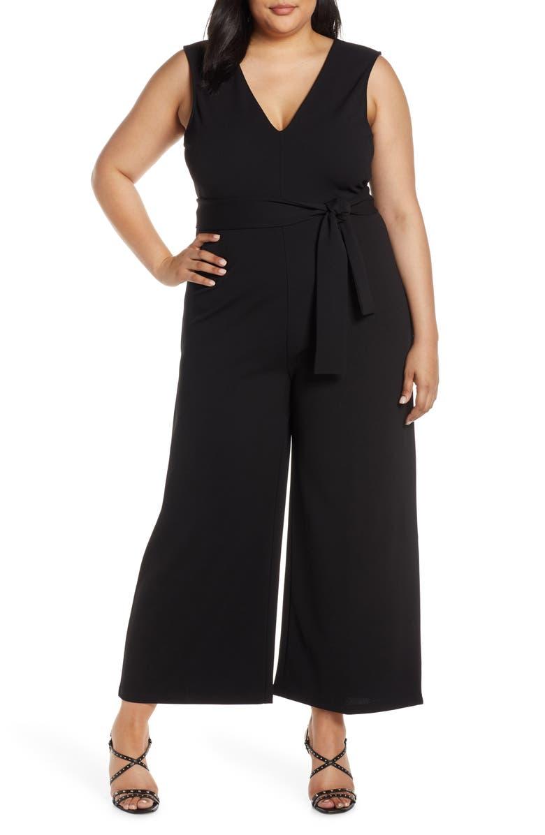 LEITH Deep V-Neck Jumpsuit, Main, color, BLACK