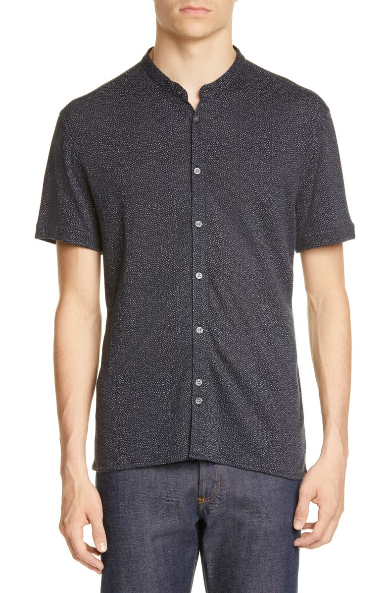 JOHN VARVATOS Spatter Print Band Collar Button-Up Knit Shirt, Main, color, BLACK