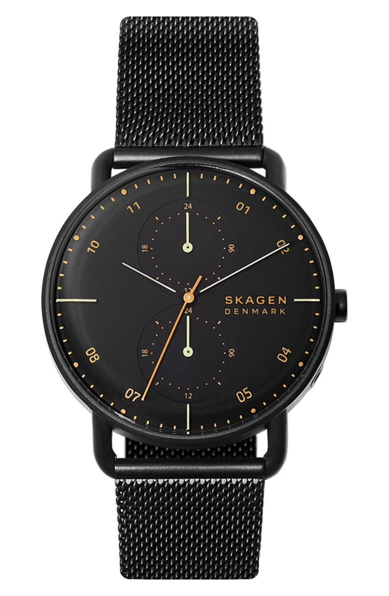 SKAGEN Horizont Multifunction Mesh Strap Watch, 42mm, Main, color, BLACK