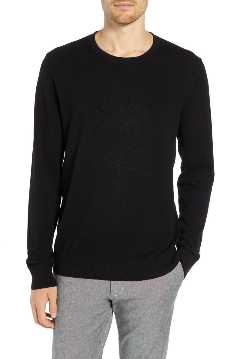 J.CREW Cotton & Cashmere Piqué Crewneck Sweater, Main, color, 001