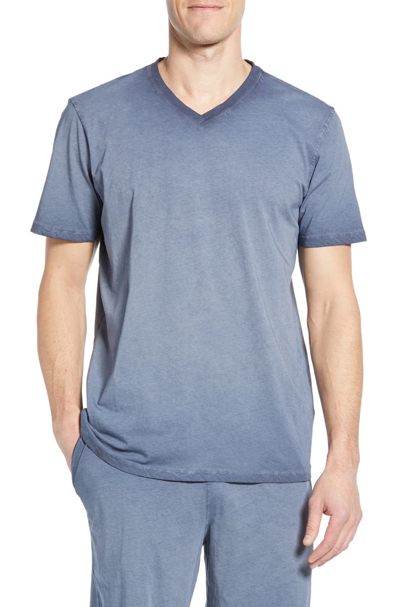 DANIEL BUCHLER Washed Cotton V-Neck T-Shirt, Main, color, NAVY