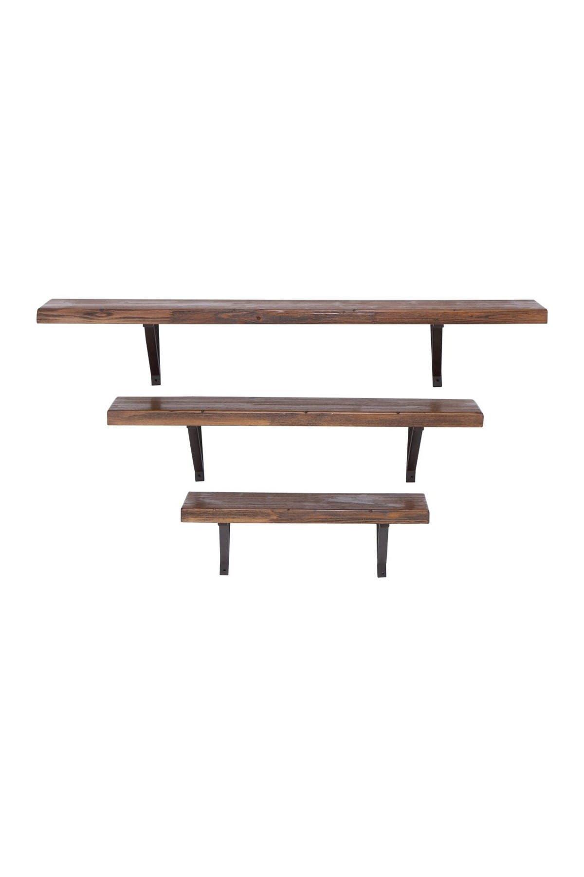 Image of Willow Row Brown Modern Wood & Metal Shelf 3-piece set