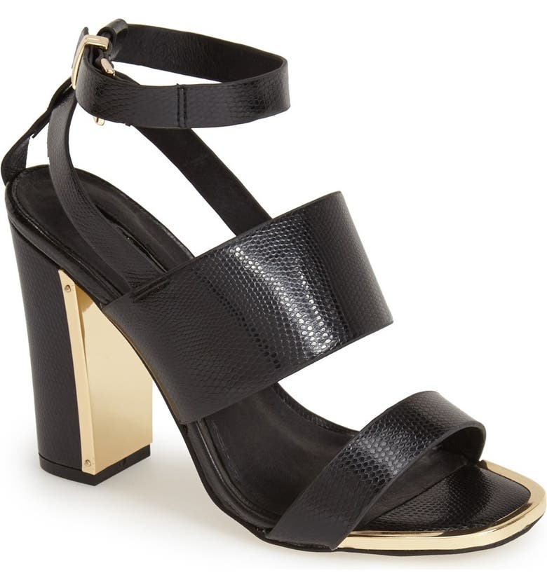 TOPSHOP 'Riot' Lizard Embossed Ankle Strap Sandals, Main, color, 001