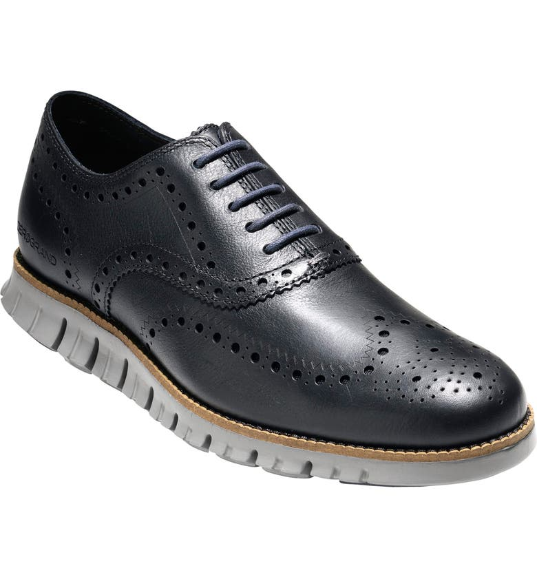 COLE HAAN ZeroGrand Wingtip Derby, Main, color, NAVY INK LEATHER