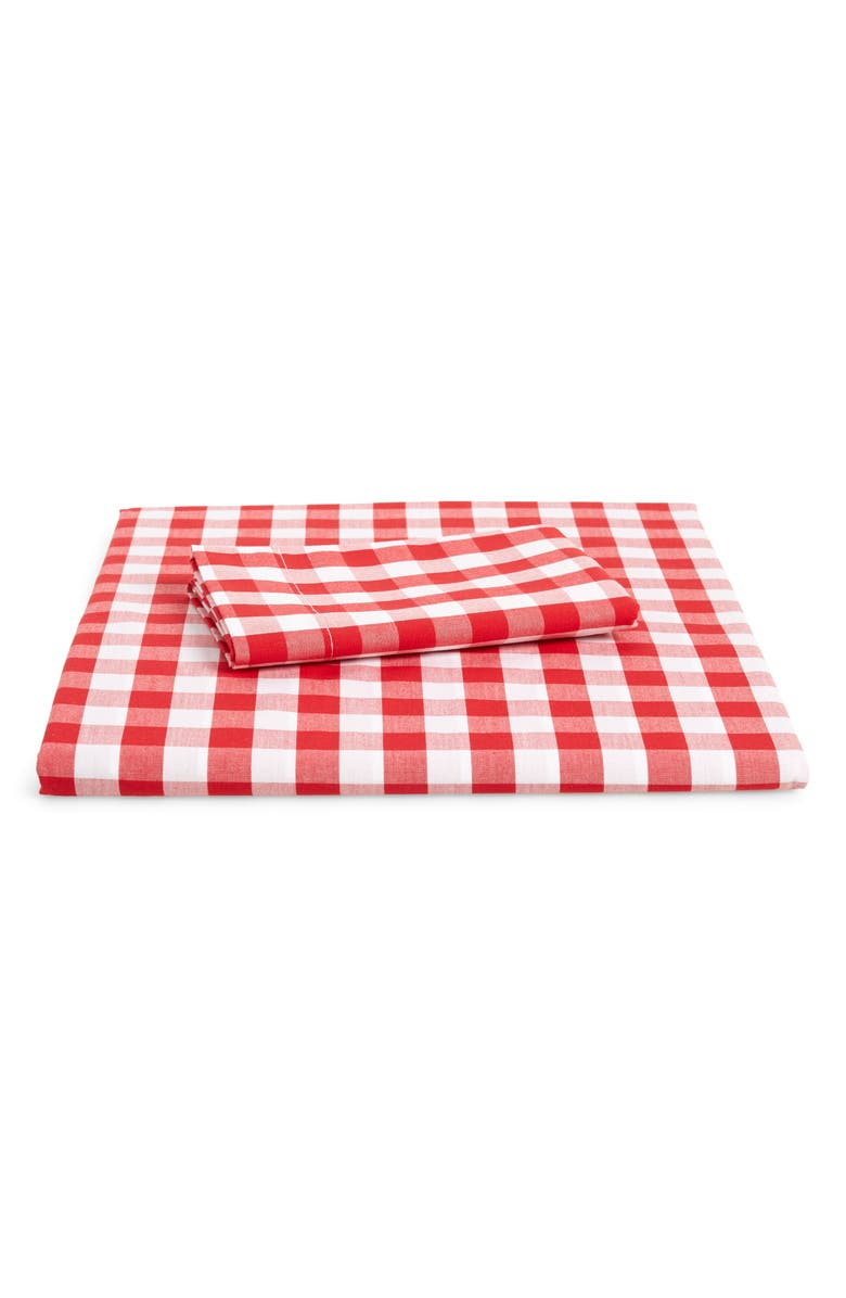 THE WHITE COMPANY Reversible Gingham Toddler Bed Duvet Cover & Sham Set, Main, color, POST BOX RED