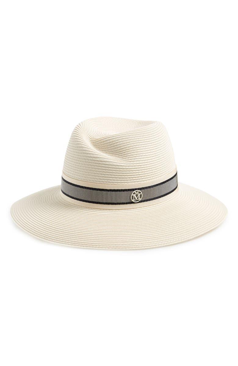 MAISON MICHEL Virginie Straw Hat, Main, color, BEIGE