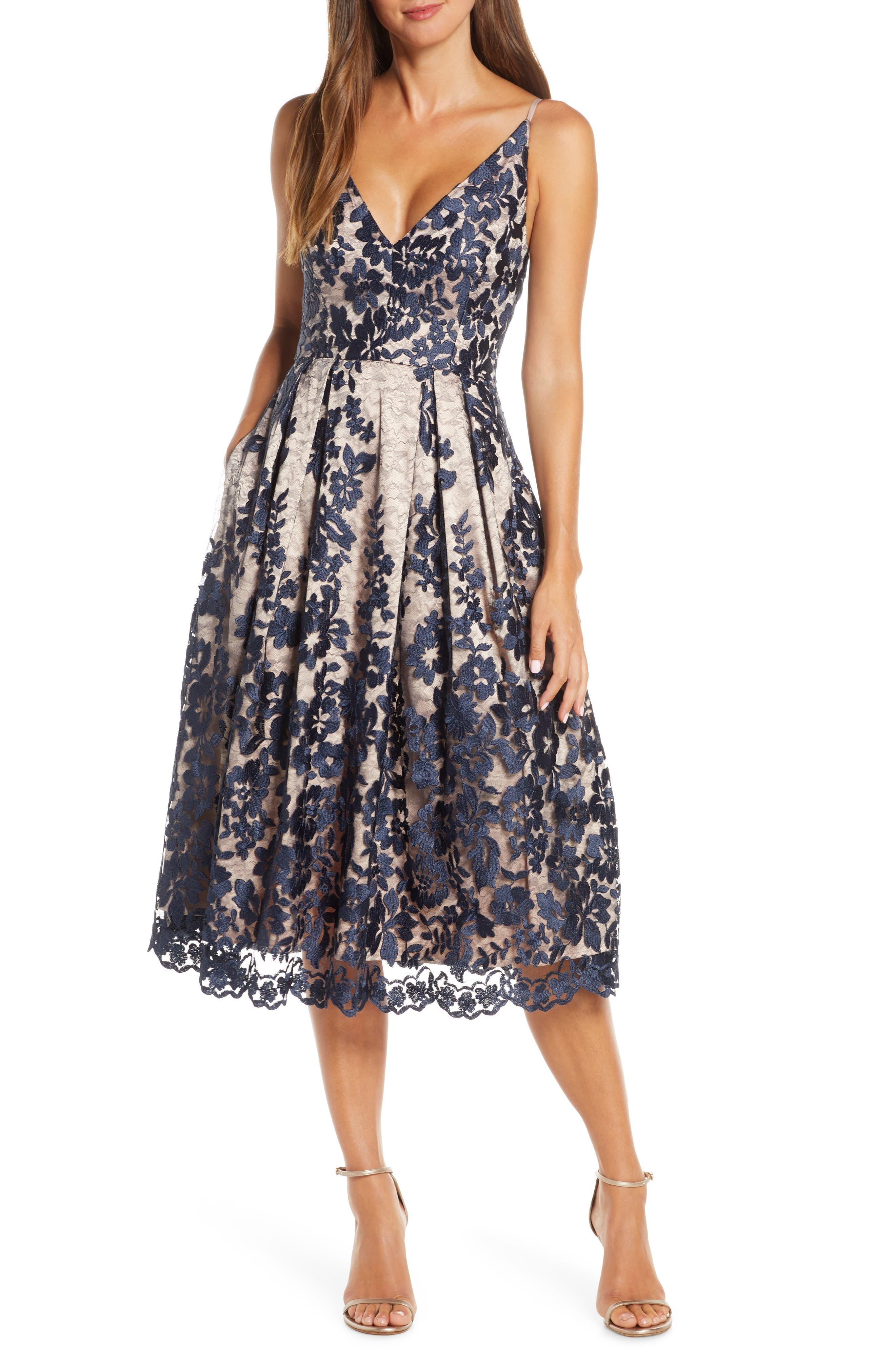 Eliza J Lace Pleat Cocktail Dress
