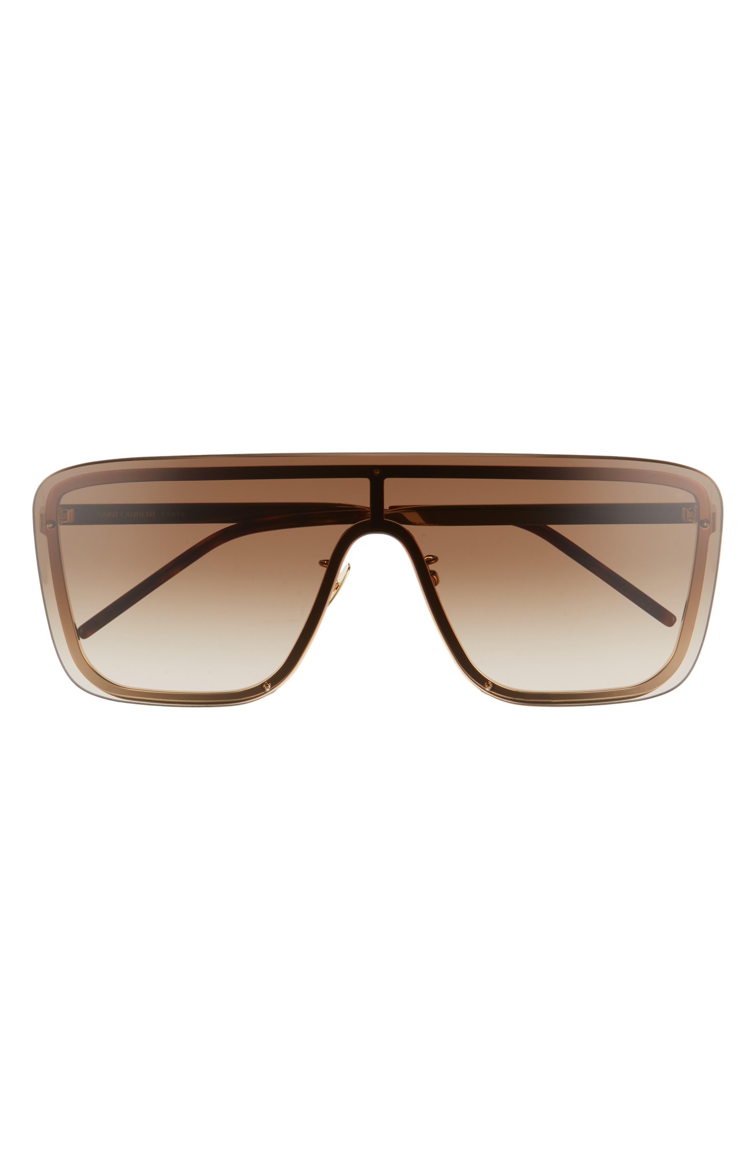 Women's Saint Laurent 99mm Flat Top Shield Sunglasses - Light Gold/ Brown